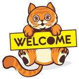 Baby cat hold a welcome sign Royalty Free Stock Photography