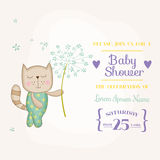 Baby Cat Holding Flower - Baby Shower or Arrival Card Stock Image
