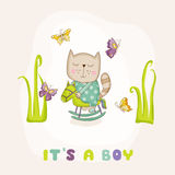 Baby Cat on a Horse - Baby Shower or Arrival Card Royalty Free Stock Photo