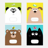 Baby cat, panda, dog, bear kitty head. Notebook cover Composition book template set. Stock Photos