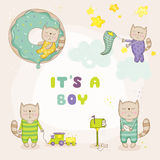 Baby Cat Set - Baby Shower or Arrival Cards. In vector stock illustration