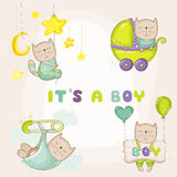 Baby Cat Set - for Baby Shower or Baby Arrival Cards. In vector Stock Images