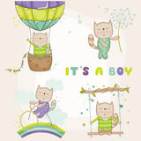 Baby Cat Set - for Baby Shower or Baby Arrival Cards. In vector royalty free illustration