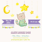 Baby Cat Sleeping on a Star - Baby Shower or Arrival Card Royalty Free Stock Image