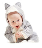 Baby in the cat suit. Studio shoot on white Stock Image