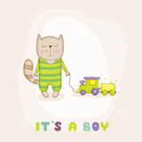 Baby Cat with a Train - Baby Shower or Arrival Card Royalty Free Stock Photography