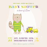Baby Cat with a Train - Baby Shower or Arrival Card Stock Photography