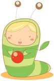 Baby caterpillar. Illustration of a kid dressed as a caterpillar Royalty Free Stock Image