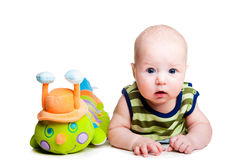 Baby and caterpillar Stock Image