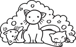Baby cats - BW illustration Royalty Free Stock Photography