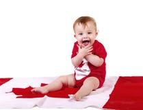Baby celebrates Canada Stock Photo