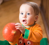 Baby celebrates Halloween stock images