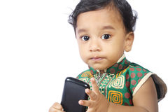 Baby with Cellphone Royalty Free Stock Image