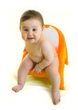 Baby on chamberpot Royalty Free Stock Images