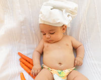 Baby chef cook white background Royalty Free Stock Photos