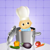 Baby chef in the pot Royalty Free Stock Image