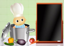 Baby chef in the pot Royalty Free Stock Photo