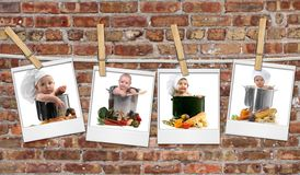 Baby Chefs in Pots Hanging on Film Blanks Against Stock Photo