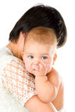 Baby chewing finger Royalty Free Stock Photography