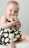 Baby chewing on hand. Royalty Free Stock Images