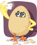Baby Chick Hatching from Egg Shell Takes Selfie with Smartphone. Vector cartoon of funny chicken breaking out of the egg and capturing the moment Stock Photos