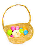 Baby Chick In A Basket With Plastic Easter Eggs Royalty Free Stock Image
