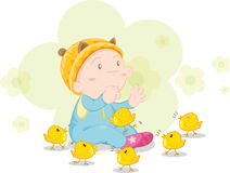 Baby with chickens. Illustration of baby with chickens vector illustration