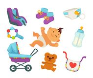 Motherhood baby and newborn child care accessory clothing vector flat icons Royalty Free Stock Photography