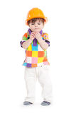 Baby child with construction helmet Stock Images