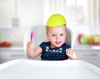 Baby child eating concept..Kid`s nutrition. royalty free stock images
