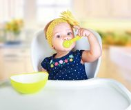 Baby child eating.Kid`s nutrition. royalty free stock photo