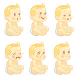 Baby, child emotions vector set royalty free illustration