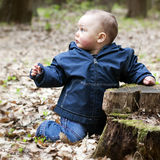 Baby child in forest Royalty Free Stock Photos