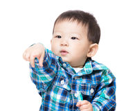 Baby child with funny hand gesture Royalty Free Stock Image