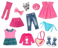 0fa16f2f6662 Baby child girl fashion clothes collage isolated. royalty free stock photos
