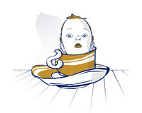 Baby child head on coffee cup Stock Photo