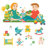 Baby and child related icons, illustrations Royalty Free Stock Photography