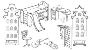 Baby child room boy. Outline set of furniture for the room teenager  sporty, energetic, enthusiastic, sketch black on a white background Stock Photo