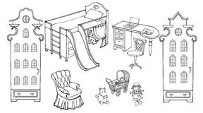 Baby child room girl doll ams. Pretty room for the girl outline set of furniture and toys black on a white background Royalty Free Stock Images