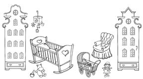 Baby child room girl doll amsterdam90 50. Cozy room for the newborn set of furniture and toys sketch black on a white background Royalty Free Stock Image