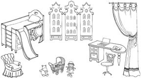 Baby child room girl doll. Cute room for the girl sketch set of furniture, toys, wardrobe Amsterdam, black on a white background Stock Images