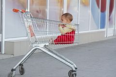Baby child in shopping cart in supermarket Stock Images