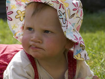 Baby child with sun hat Royalty Free Stock Images