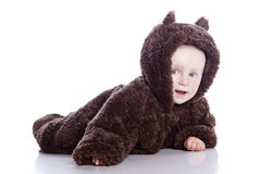 Baby child in teddy-bear Royalty Free Stock Image