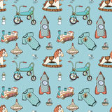 Baby, child toys hand drawn elements seamless pattern. Skeched doodle elements train, bicycle, horse, rocket and toy ship. vector illustration