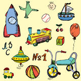 Baby, child toys set hand drawn sketch, colored and outlined Royalty Free Stock Image