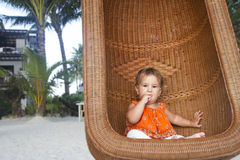 Baby child on tropical beach Stock Photos