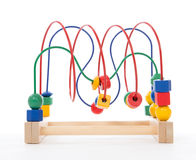Baby child wooden educational toy with looped wires Stock Images