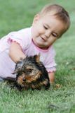 Baby child and yorkshire terrier Stock Photography