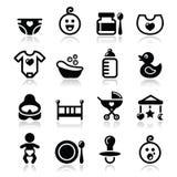 Baby , childhood  icons set isolated on white Stock Images